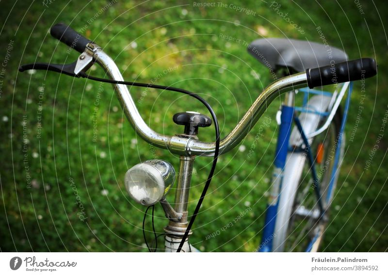 Fahrradlenker verkehr grün fahrrad richtung lenken lampe rost alt oldschool vintage park ausflug ökologisch fridays for future Bewegung Wiese