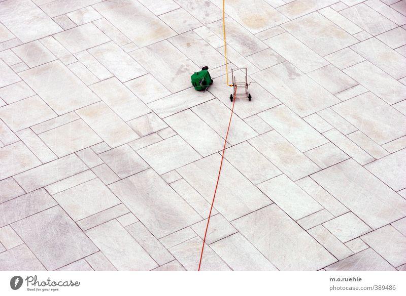 ausgerollt Stadt grün rot gelb Bewegung Stein Beginn leer Kabel Partnerschaft Verbindung Terrasse Leitung Bodenplatten Mittelpunkt Handwagen