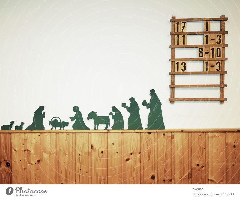 Ankunft Josef Maria Jesuskind Jesus Christus Heilige Familie Weihnachtskrippe Christentum Bethlehem Figur Krippenfiguren Nachbildung stehen knien Andachtsraum