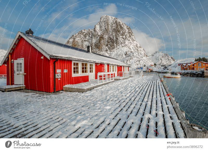 home sweet home Hamnøy Lofoten Norwegen Skandinavien Norden Nordisch Hütte Haus rot Winter Schnee Berg Holzsteg Steg Fjord Reine Reinefjorden hafen Rorbuer