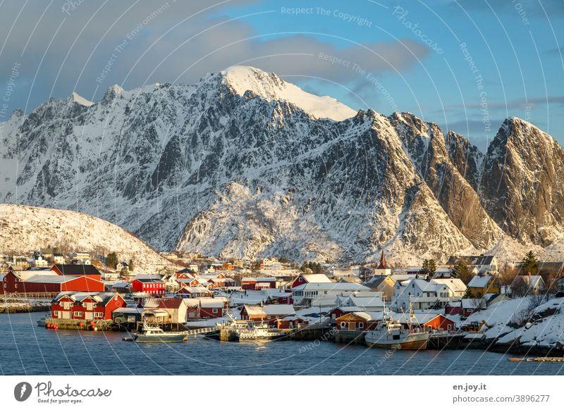 Reine auf den Lofoten im Sonnenlicht vor verschneiten Bergen Norwegen Skandinavien Fischerdorf Dorf Ort Ortschaft Kleinstadt Berge u. Gebirge Winter Schnee