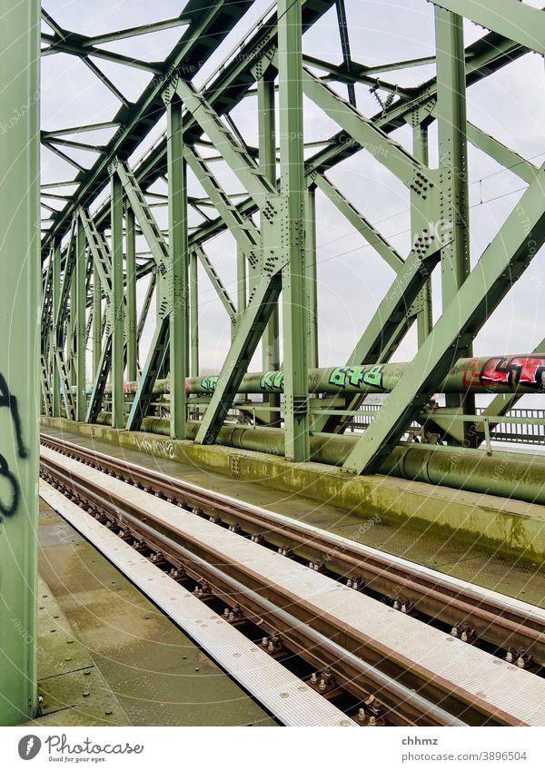 Eisenbahnbrücke Stahl Brücke Rheinbrücke Gleise Schienenverkehr Verkehr Güterverkehr & Logistik Bahnfahren Verkehrsmittel Infrastruktur Graffiti
