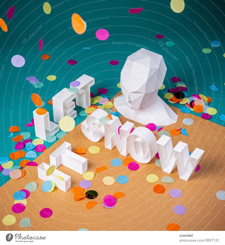 lass es schneien - 3d Buchstaben mit kopf und konfetti Konfetti Kopf es schneien lassen Schnee IT isometrisch isometrische Ansicht Studioaufnahme