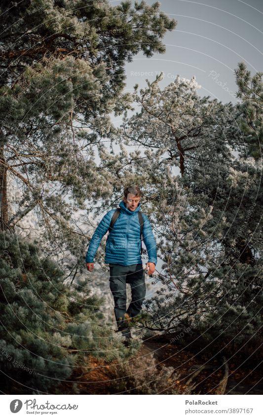 #A0# Wanderung durch Winterwald Outdoor Outdoor-Erholung Outdoor-Fotografie Kleidung trekking Sächsische Schweiz Mann Abenteuer Natur Außenaufnahme wandern