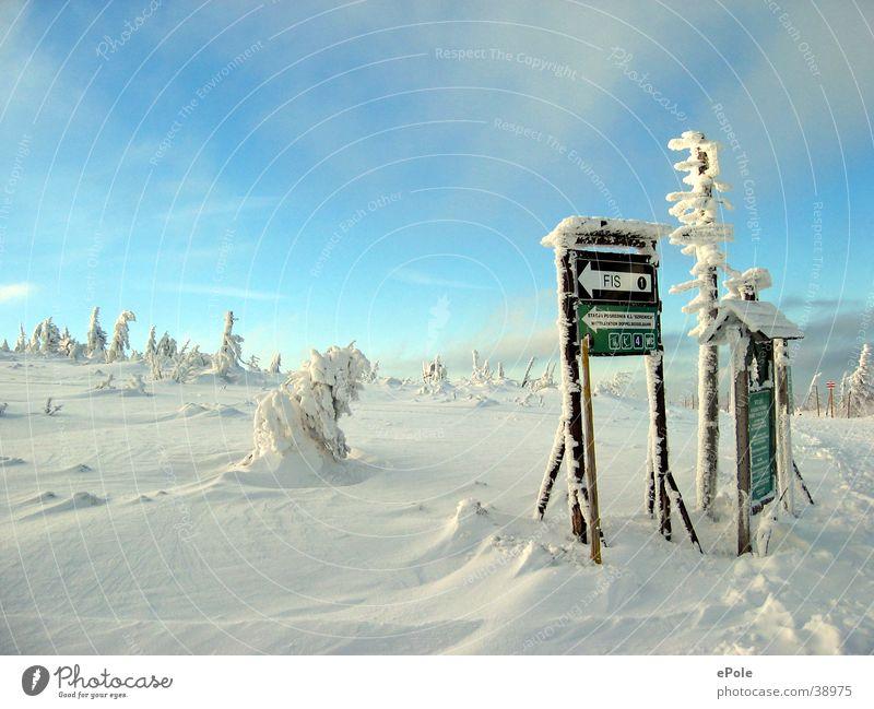 Idylisch in blauweiss weiß Berge u. Gebirge Skipiste Schnee Wegweiser Schneedecke Schneelandschaft Eisschicht Wintertag Erholungsgebiet Menschenleer