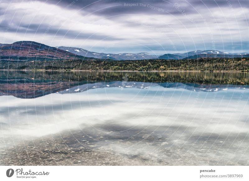konform | wie oben, so unten Landschaft Norwegen Nordnorwegen Fjord Berge Wasser Spiegelung Reise Weite Einsamkeit Himmel Berge u. Gebirge