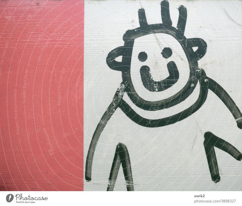 Phantombild Typ Jugendlicher Visage frech grinsend abstrakt Zeichnung Strichmännchen Kopf Gesicht Augen Mund Haare Ohren Oberkörper Arme schwarz weiß rot