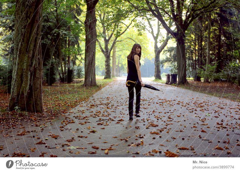 Blick zurück ins Jahr 2020 Rückansicht drehen Zurückblicken attraktiv langhaarig brünett Park feminin schön blick über die schulter Wege & Pfade Regenschirm