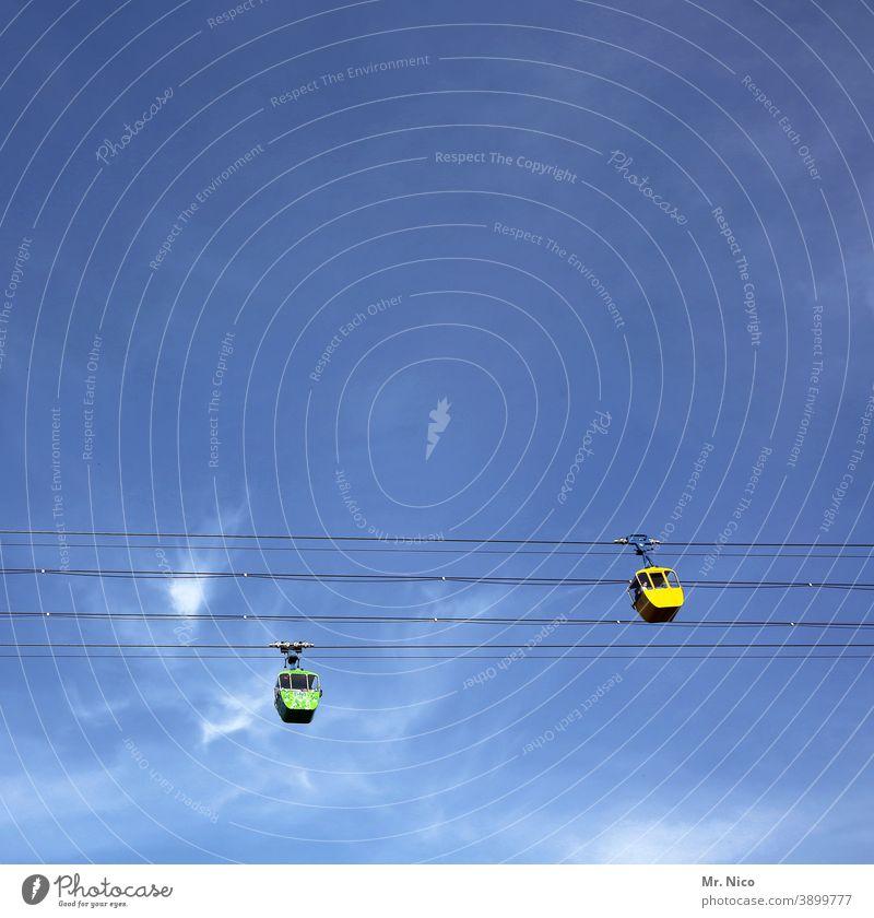 Köln ganz oben Gondel Seilbahn Himmel Blauer Himmel Gondellift Luftverkehr Drahtseil abwärts Leerfahrt aufwärts Schweben gelb Personenverkehr Verkehrsmittel
