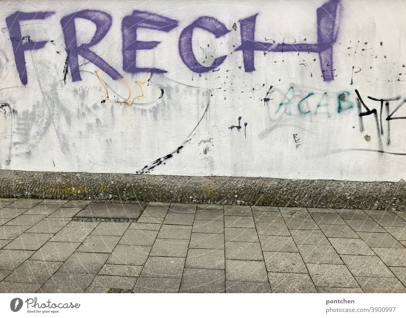 Das Wort frech steht in lila als Graffiti auf einer dreckigen Mauer wort urban mauer Schmiererei Schriftzeichen Jigendkultur Buchstaben Text Illegal