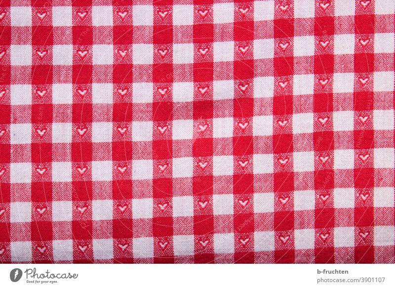 alter Stoff mit rotweiß karierten Muster und kleinen Herzen Baumwolle Stoffstück Stoffmuster Leinen Dekoration & Verzierung Tischwäsche Strukturen & Formen