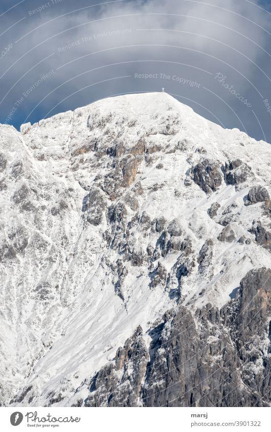 Schneebedeckte Scheichenspitze Schneebedeckte Gipfel Felsen Alpen Winter Natur Berge u. Gebirge Schönes Wetter außergewöhnlich natürlich Erfolg elegant
