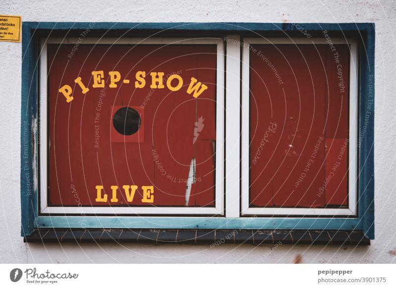 Piep-Show alte Vogelhandlung vogelhandlung Fenster Fensterscheibe Häusliches Leben Glasscheibe rot Typographie Typography Typografie Buchstaben Schriftzeichen