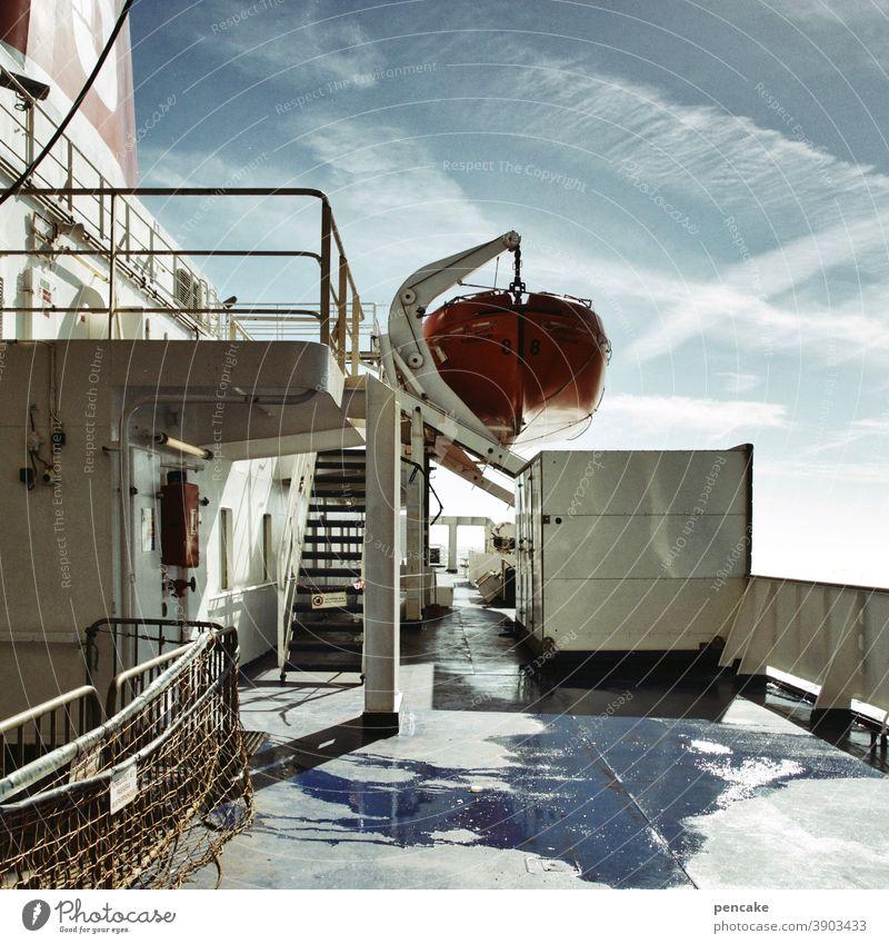 blinder passagier Schiff Fähre Norwegen Überfahrt Oslo Fjord Verkehr Passagier Urlaub Reise Rettungsboot Meer Transport Ferien & Urlaub & Reisen Skandinavien