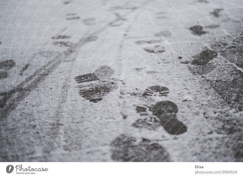 Fußspuren im Schnee Winter Spuren Boden kalt weiß Neuschnee gehen Asphalt Schneedecke Schneespur