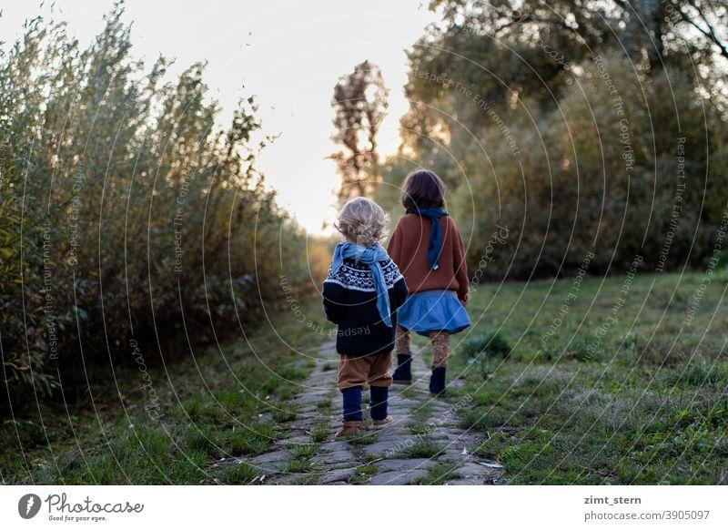 Kinder fühlen sich frei in der Natur Herbstlicht Abendstimmung Kindheit waldorf waldorfkindergarten Waldkindergarten Kindheitstraum Landleben auf dem land