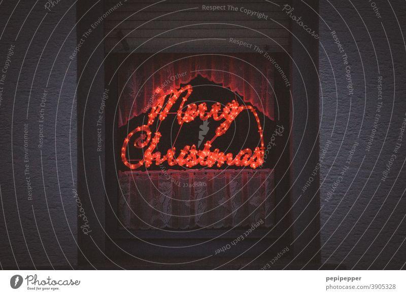 Merry Christmas Weihnachten & Advent Dekoration & Verzierung Winter Feste & Feiern Weihnachtsdekoration Farbfoto Neonlicht x-mas Text Typographie Typography