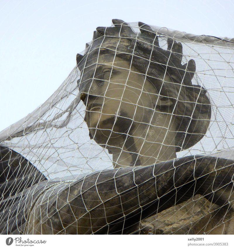 gefangen... geschützt... Statue Skulptur Kopf Frauenkopf Göttin Netz engmaschig Schutz Überwurf schützen Sicherheit Denkmal Stein historisch Bildhauerei Gesicht