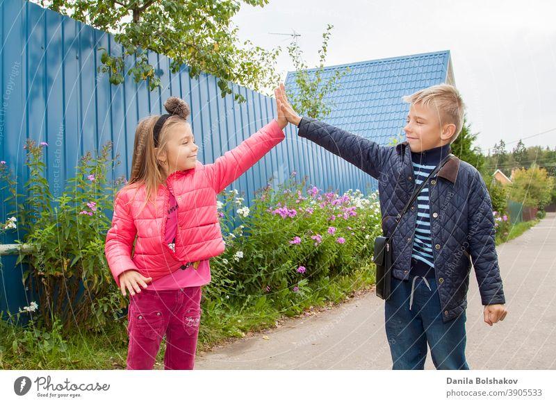 High Five. Fröhliche Kinder grüßen sich im Freien. Bild mit selektivem Fokus Natur Person Junge Lächeln Emotion Feiertag Urlaub sonnig Lifestyle Gesundheit