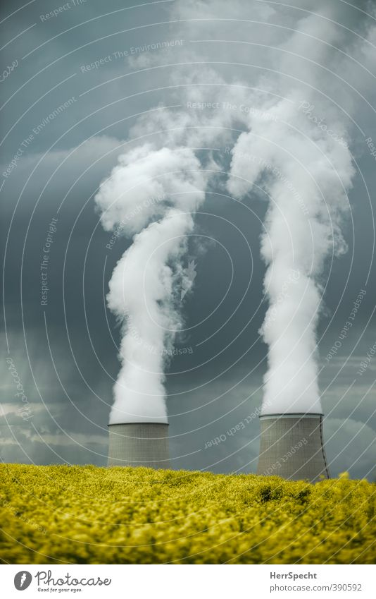 Yellow Strom Technik & Technologie Energiewirtschaft Kernkraftwerk Umwelt Landschaft Himmel Wolken Gewitterwolken Frühling schlechtes Wetter Pflanze Nutzpflanze