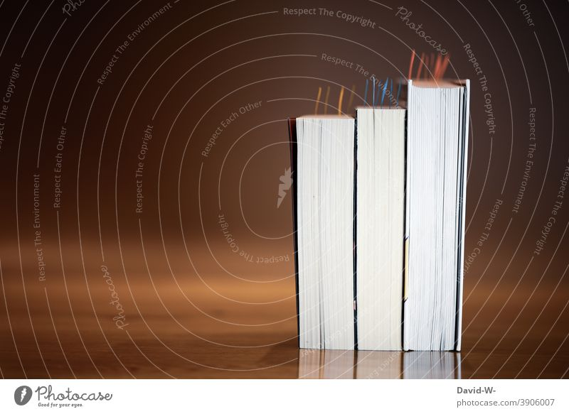 Bücher mit Haftmarken - Schule und Bildung lernen Wissen Üben Studium Wissensdurst Buch Weisheit pauken merken erinnerung Bibliothek strukturiert Notizen