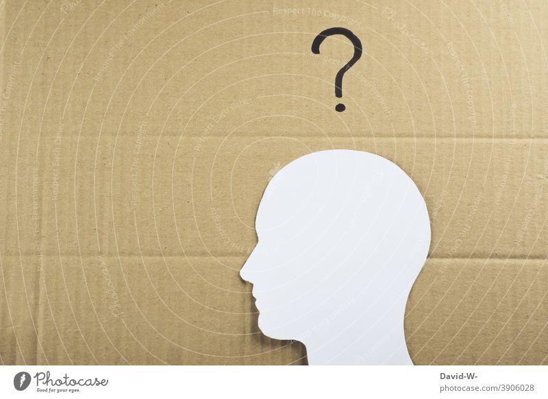 Mensch mit einem Fragezeichen über dem Kopf ? Zeichnung konzept Fragen Collage Denken Verwirrung unsicherheit Mann Gedanken