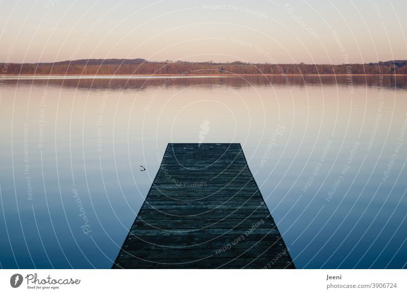 Kalter Wintertag | Holzsteg am See Steg Abend Abenddämmerung Nachmittag Spiegelung Spiegelung im Wasser Stimmung Sonne Licht Ruhe ruhig Landschaft