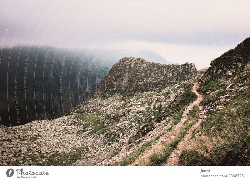 Wandern auf einem Pass in den Alpen | Ausblick auf den wolkenverhangenen Berg Textfreiraum Mitte Textfreiraum rechts Textfreiraum links Textfreiraum unten
