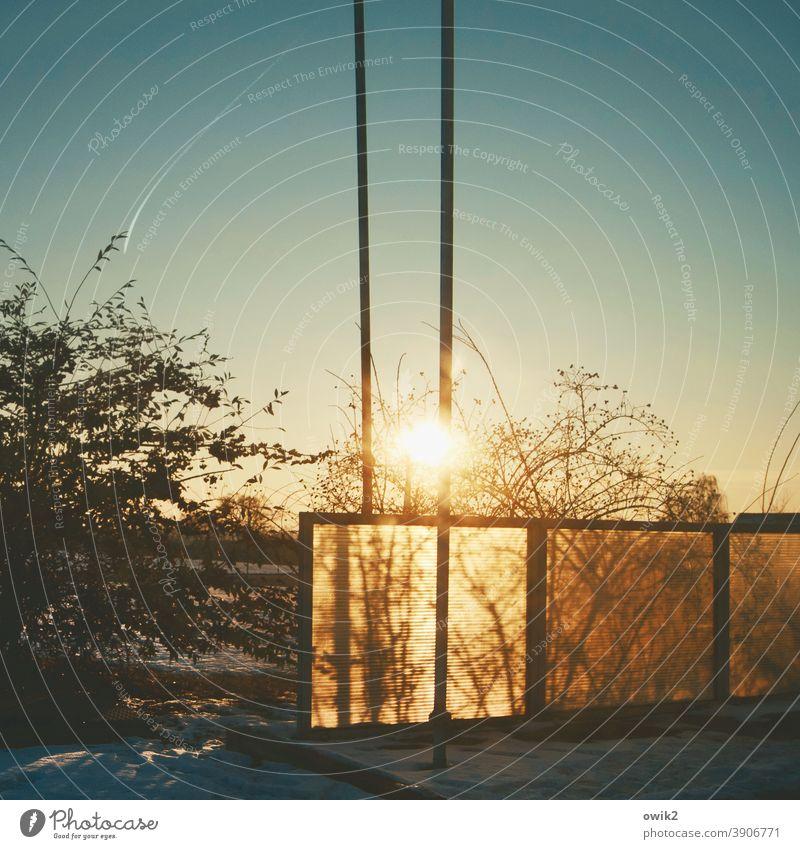 Ansichtssache Tankstelle Farbfoto Außenaufnahme Sonnenlicht Totale Schatten Strukturen & Formen Pflanze Sträucher Zweige Äste Masten Pfosten Balustrade Zaun