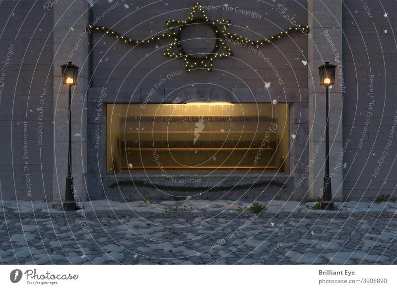 gelb beleuchtetes Schaufenster mit leeren Regalen und ausserhalb geschmückt mit weihnachtlicher Beleuchtung 3d Verlassen Gasse antik Architektur Hintergrund