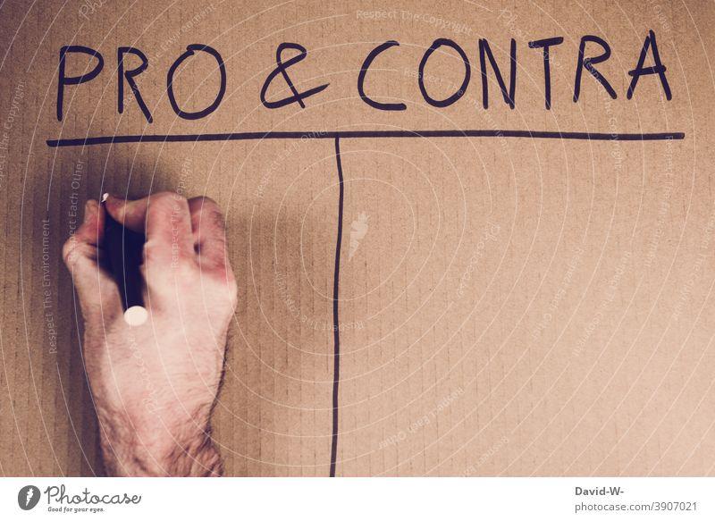 Pro und Contra - Ja dafür abstimmen abwägen Entscheidung Liste Auflistung Tabelle positiv &