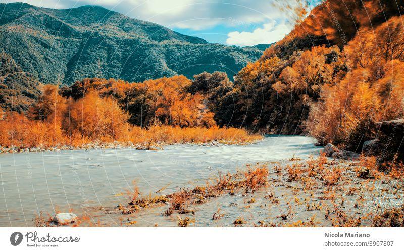 Herbst Berg und Fluss lange Belichtung Foto Langzeitbelichtung Seidenwasser fallen Holz