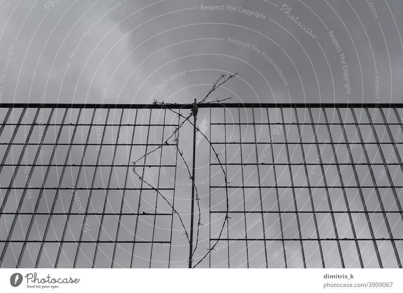 Metallzaun und Stacheldraht ineinander greifen Zaun bügeln Felder Muster mit Stacheln versehen Draht grau wolkig Himmel Rechtecke Linien bedeckt Barriere
