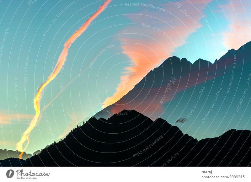 Träume, Wünsche und Illusionen Doppelbelichtung Alpen Berge u. Gebirge leuchten Überraschung Lebensfreude Stimmung Sonnenaufgang Sonnenuntergang träumen