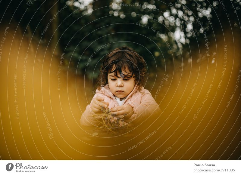 Süßes Mädchen spielt mit Herbstblättern gelb Kind Kindheit 1-3 Jahre Kaukasier authentisch herbstlich Herbstlaub Herbstfärbung fallen mehrfarbig Herbstwald