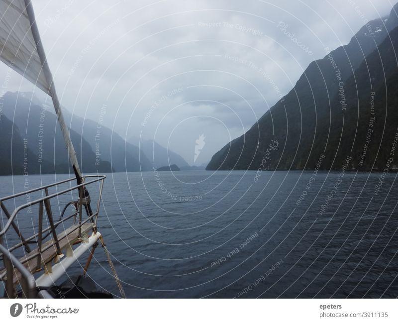 Doubtful Sound, Neuseeland Zweifelhafter Klang Südinsel Tourismus Sehenswürdigkeit Neuseeland Landschaft fiord Fjord Berge Ansicht Bergblick Wasser Wasserstraße