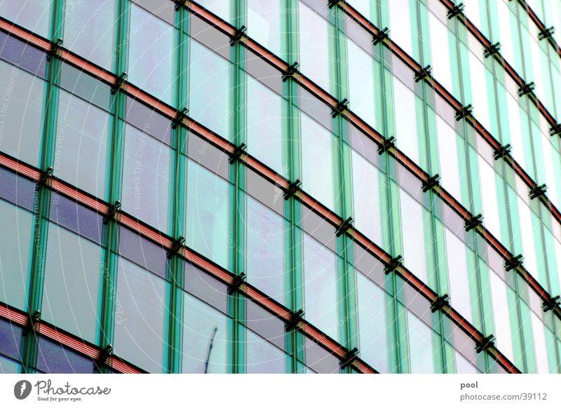 Fassade aus Glas grün Haus Ferne Farbe Fenster Gebäude Linie Architektur Hochhaus modern Glasfassade