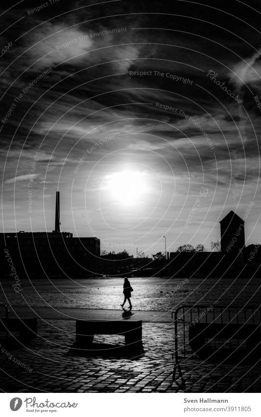 Frau im Licht geht spazieren Silhouette Spazieren Natur Außenaufnahme Spaziergang Erwachsene Schatten dunkel Gegenlicht minimalistisch Mensch gehen Wege & Pfade