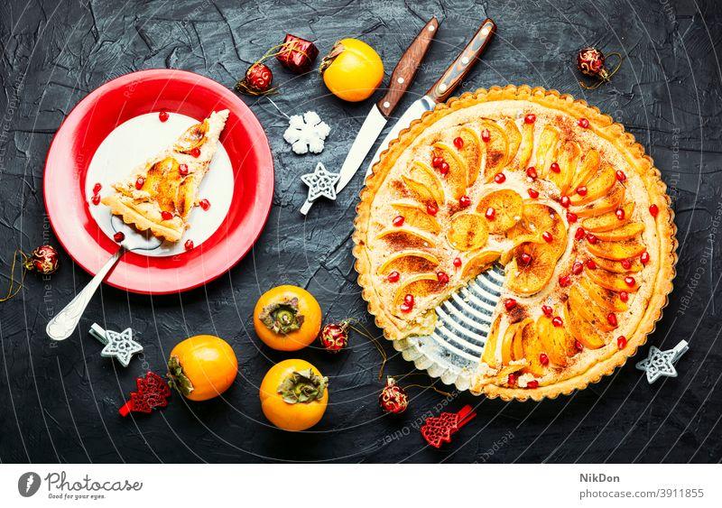 Weihnachts-Frucht-Torte Persimone Pasteten Kuchen Weihnachtskuchen Persimonen-Kuchen Weihnachten Neujahr Weihnachtsdessert Dessert Lebensmittel süß lecker