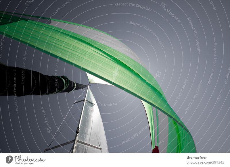bunte Flügel Ferien & Urlaub & Reisen grün weiß Meer Freude Ferne Bewegung Freiheit grau Wind elegant Schönes Wetter Energie Abenteuer Sommerurlaub Wolkenloser Himmel