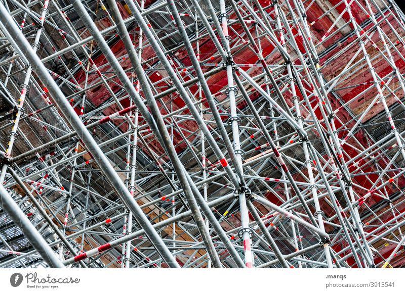 Baugerüst Baustelle Stahl Stahlkonstruktion Muster abstrakt Metall Stahlträger Irritation Architektur verrückt viele außergewöhnlich Linie Bauwerk komplex