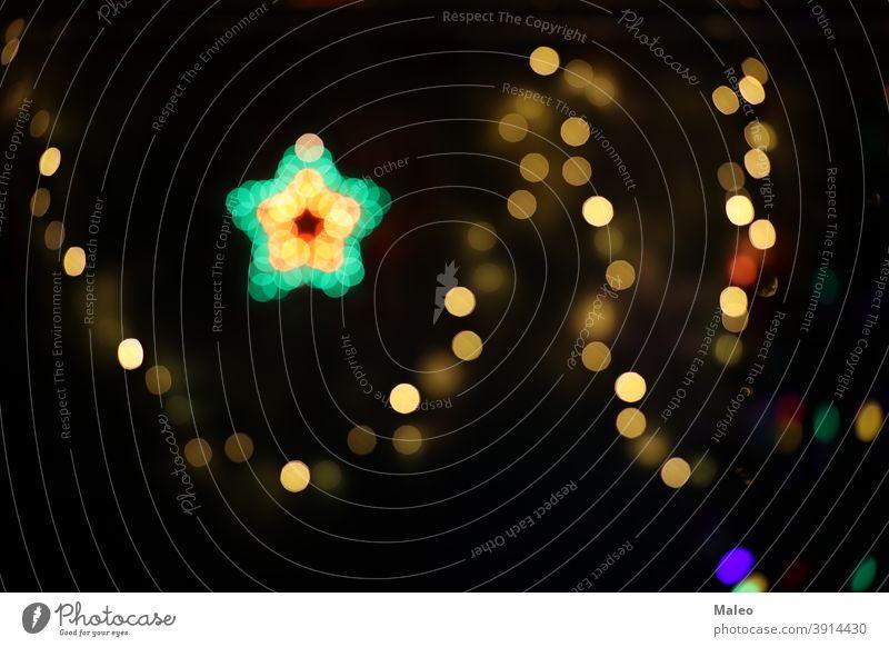 Abstraktes unscharfes Bild von Weihnachtsbaum Lichter abstrakt Ordnung Hintergrund Unschärfe verschwommen verschwimmend Bokeh hell Blasen Postkarte feiern