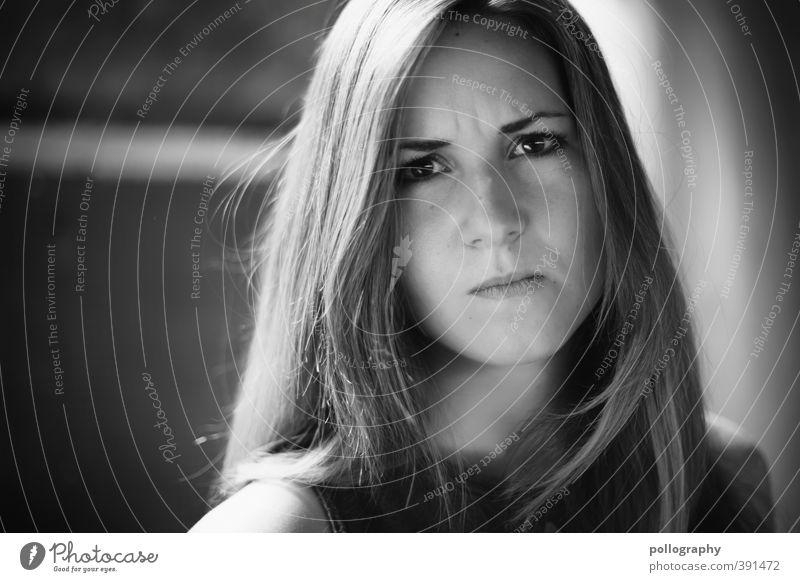 nicht mit mir Mensch feminin Junge Frau Jugendliche Erwachsene Leben Kopf 1 18-30 Jahre langhaarig Gefühle Kraft Willensstärke Mut Entsetzen Wut Ärger gereizt