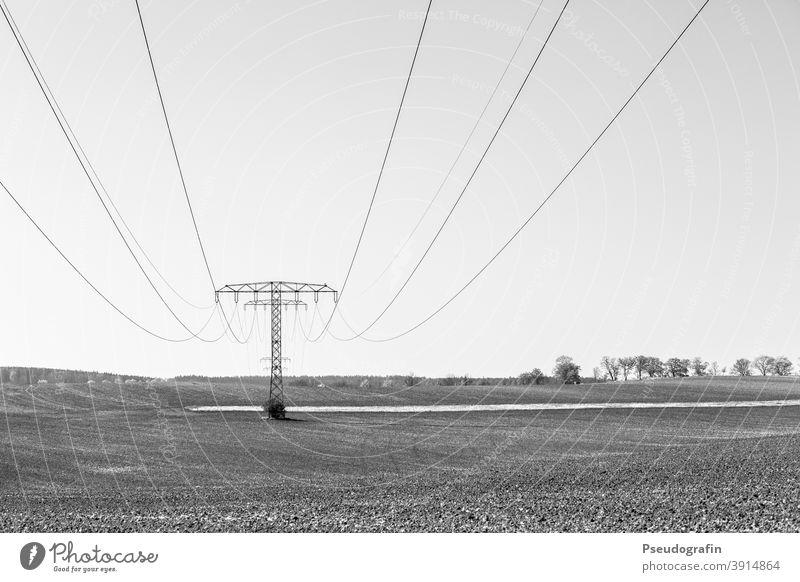 Elektrizität Strommast Leitung Energiewirtschaft Kabel Hochspannungsleitung Landschaft Stromtransport Außenaufnahme Menschenleer