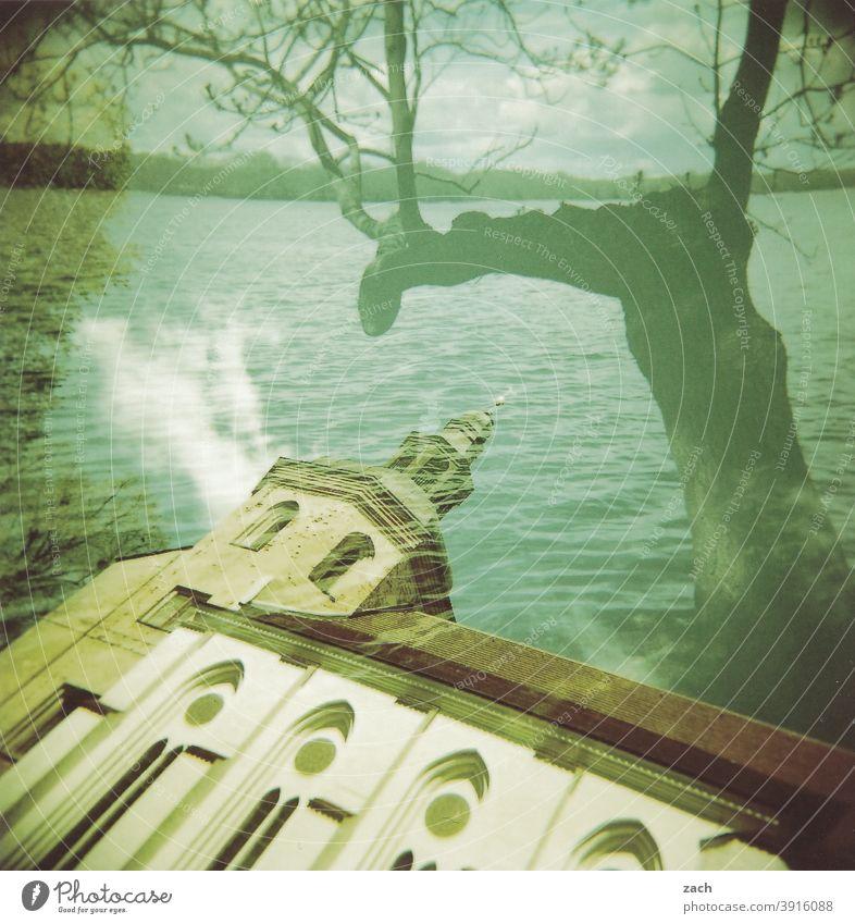 Kirchenschiff analog analoge fotografie Analogfoto Holga Dia Scan Lomografie Doppelbelichtung See Baum Religion & Glaube grün mehrfachbelichtung ufer Seeufer
