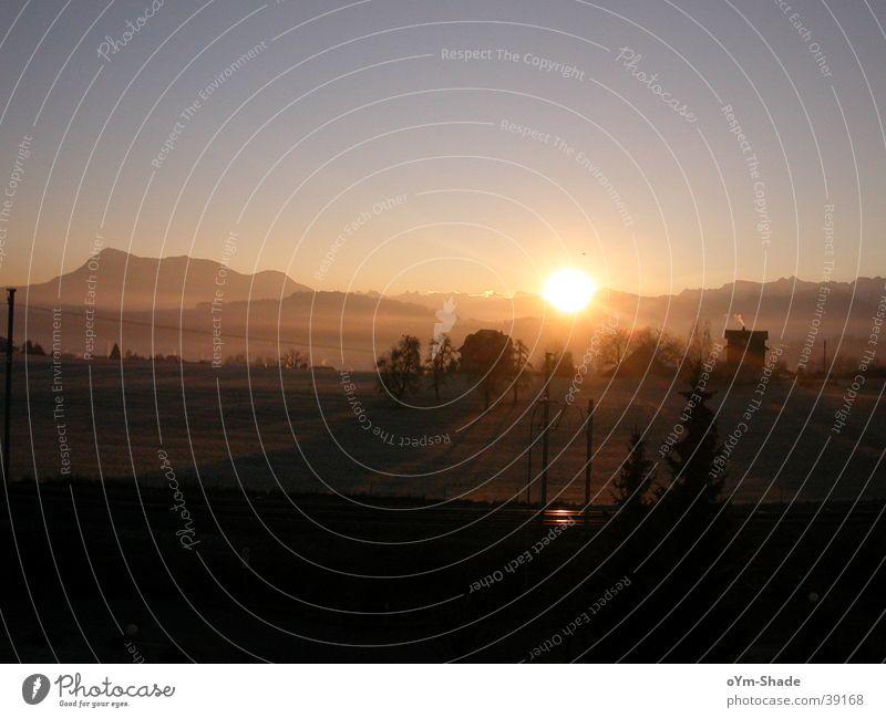 Wintermorgen Himmel Sonne Berge u. Gebirge Landschaft Nebel groß Klarheit Schönes Wetter