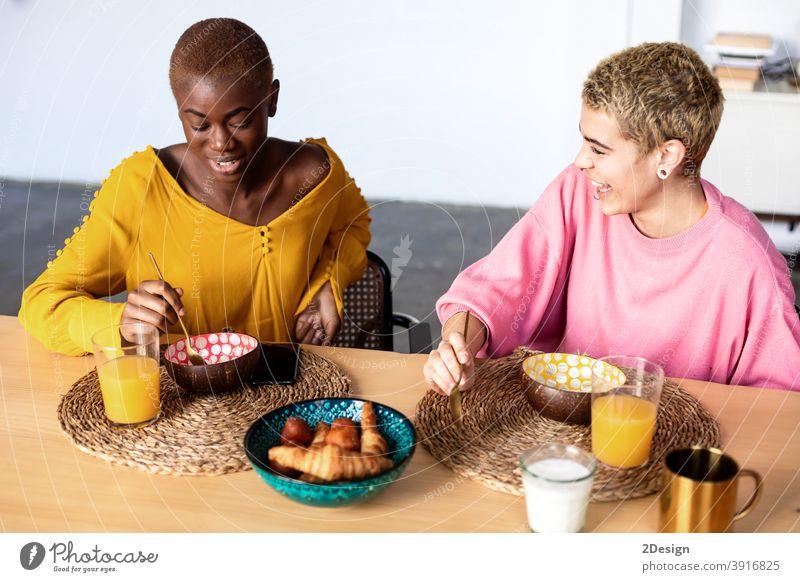 Zwei schöne multiethnische Freundinnen beim gemeinsamen Frühstück zu Hause Frau Sitzen sprechend Zusammensein Zwei Personen Lächeln Zusammengehörigkeitsgefühl
