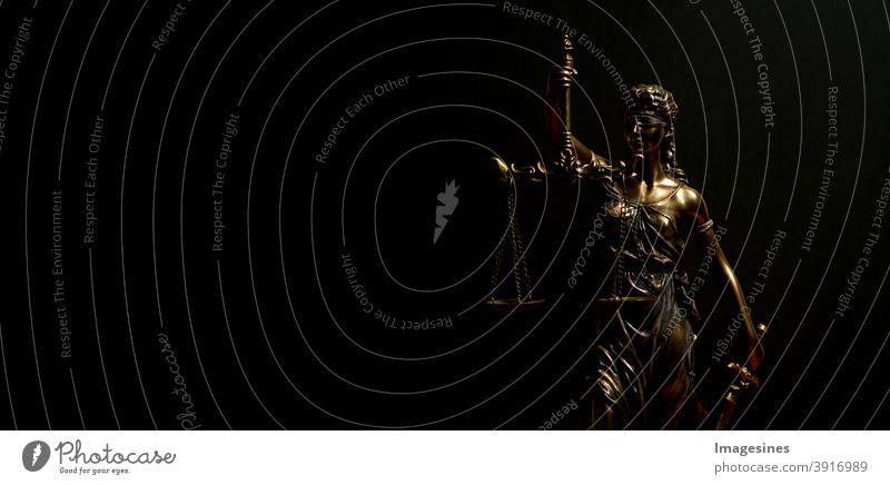 Justitia Statue Göttin der Gerechtigkeit Mythologie römisch Gericht Anwalt Kanzlei Autorität Gleichgewicht blind Augenbinde Bronze - Legierung Geschäft