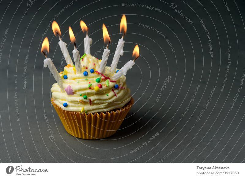 Geburtstagstörtchen mit vielen Kerzen Cupcake Feier Lebensmittel Dessert Party süß Zuckerguss Textfreiraum horizontal Geburtstagstorte Kuchen Buttercreme