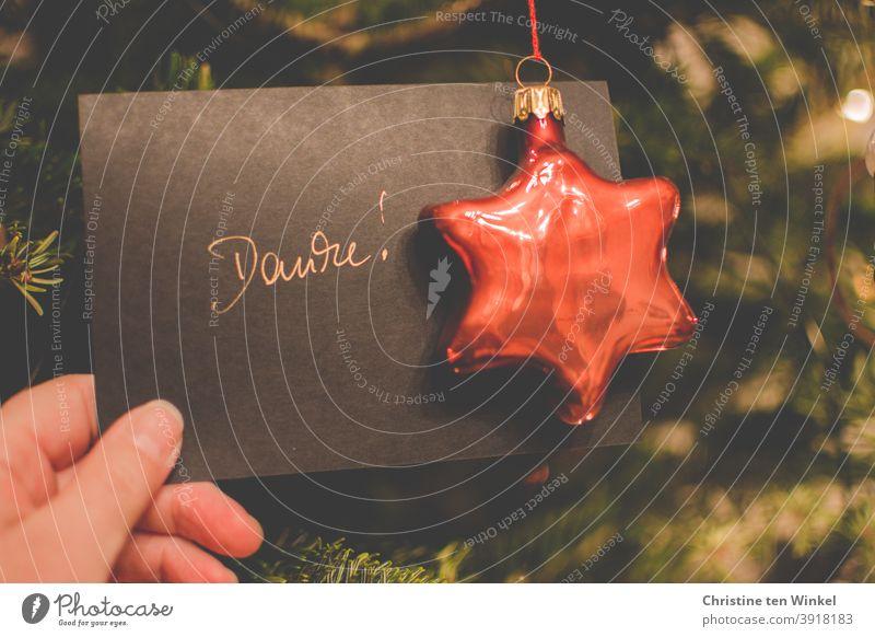 'Danke' sagen in der Advents- und Weihnachtszeit danken Weihnachten Christbaumkugel Geschriebenes Wort Stern Glas Danke sagen Dankeskarte schwarz orange grün